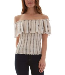 bcx juniors' striped smocked off-the-shoulder top