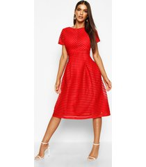 boutique full skirted prom midi dress, red