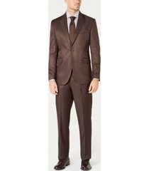 dockers men's modern-fit stretch brown sharkskin suit