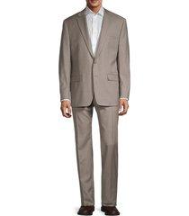 lauren ralph lauren men's sharkskin ultraflex-fit wool-blend suit - tan - size 44 r