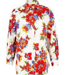pixel floral print drop shoulder shirt