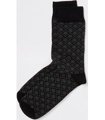river island mens black rir printed socks
