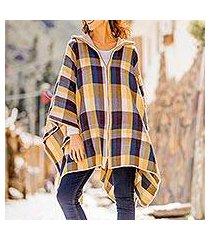 alpaca blend poncho sweater, 'cuzco in the morning' (peru)