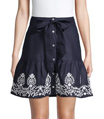belted button-front linen skirt