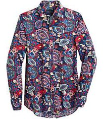 paisley & gray slim fit sport shirt red & blue floral and paisley