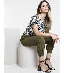 calça de sarja feminina jogger clochard verde militar