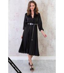 plisse jurk zijde zwart