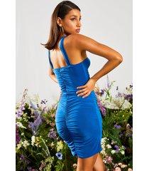 bodycon jurk met hoge hals en ruches, blue