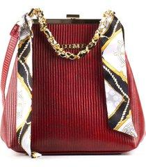 bolso femenino tipo cartera rojo con cadena y pañoleta cosmos