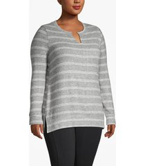 lane bryant women's active striped tunic top 14/16 heather gray and white