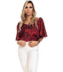 blusa clara arruda estampada barra laço 20503 - feminino