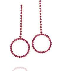 brinco dona diva semi joias longo círculo