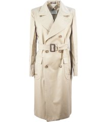 maison margiela beige belted trench coat