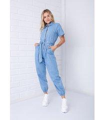 macacã£o utilitã¡rio pkd com zãper frontal jeans - azul - feminino - dafiti