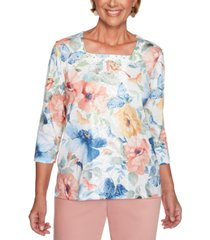alfred dunner pearls of wisdom lace-panel printed top