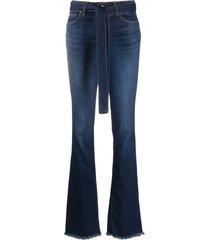 liu jo tie-waist flared jeans - blue