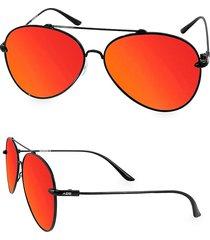 aqs women's tommie logo 60mm aviator sunglasses - black
