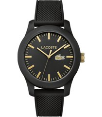lacoste unisex 12.12 black silicone strap watch 43mm 2010818
