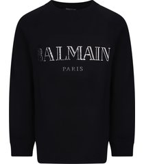 balmain black sweatshirt with silver logo for girl