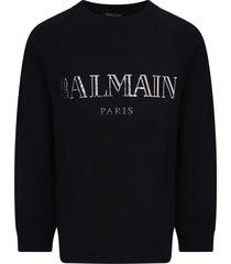 balmain black girl sweatshirt with silver logo