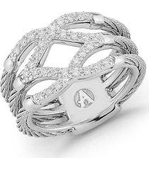 18k white gold stainless steel & 0.25 tcw diamond ring