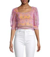 lea & viola women's lace-overlay cropped blouse - lavender multi - size xs