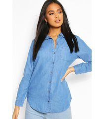 oversized denim shirt, mid blue