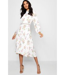 boutique floral long sleeve skater dress, ivory