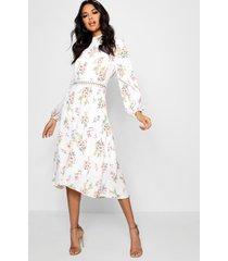 boutique floral long sleeve skater dress, ivory