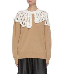 lana' mesh crochet collar sweater