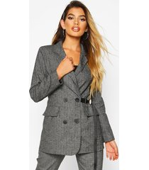 buckle detail utility woven flannel blazer, black