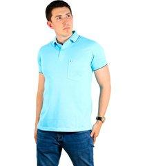 camiseta tipo polo aguamarina hamer bolsillo bordado