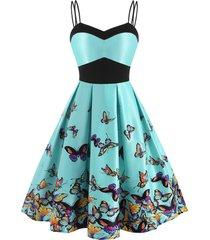 dual strap butterfly print empire waist dress