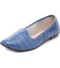 zapato plano azul moleca