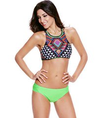cali chic juniors' swimsuit vintage two-piece high neck tankini hot! new! big se