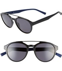 men's salvatore ferragamo 53mm round sunglasses - black/ blue
