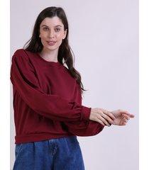 blusão de moletom feminino mindset manga bufante decote redondo vinho