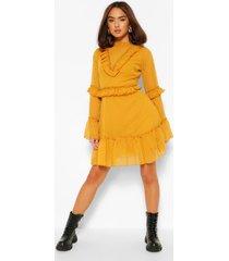 dobby mesh frill neck detail skater dress, mustard