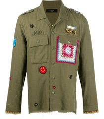 amiri patch-embellished military shirt - green