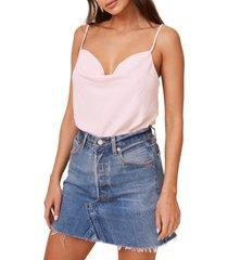 women's astr the label cowl neck bodysuit, size medium - pink