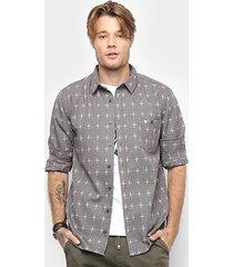 camisa cavalera manga longa estampa cruz masculina