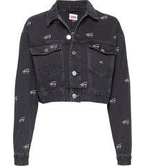 crop denim jacket svcbkr jeansjacka denimjacka svart tommy jeans