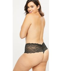 lane bryant women's lace wide-side thong panty 26/28 black winter floral