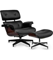 stylowy fotel z podnóżkiem japan czarny