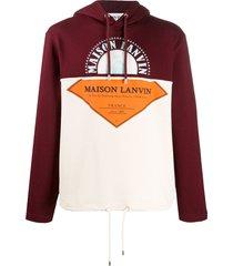 lanvin printed patchwork hoodie - red