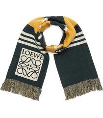 logo jacquard stripe wool scarf