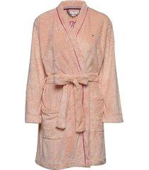 fluffy robe ochtendjas roze tommy hilfiger