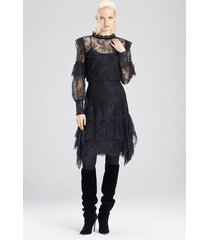 viscose satin lace ruffle skirt, women's, black, size 8, josie natori