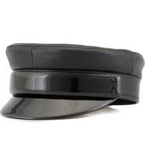 ruslan baginskiy leather baker boy cap