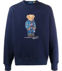 polo ralph lauren bear print fleece sweatshirt - blue